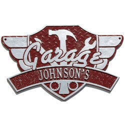 Cars Gifts:Personalized Garage Wing Outdoor Wall Plaque