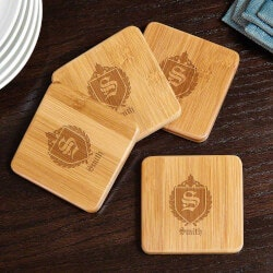 Gifts for Couples:Oxford Personalized Bamboo Coasters
