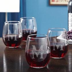 Wine Gifts:Oakmont Engraved Stemless Wine Glasses