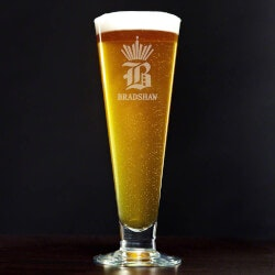 Beer Fathers Day Gifts:King Of Pilsners Personalized Beer Glass