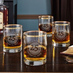 Personalized 4th Anniversary Gifts:Gold Rim Anniversary Whiskey Glasses