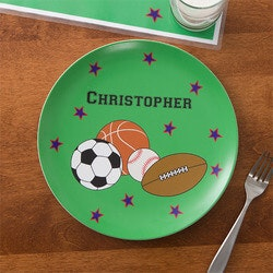 Birthday Gifts for 9 Year Old:Personalized Boys Dinner Plate - Sports