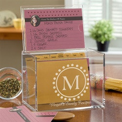 Christmas Gifts for Mom:Personalized Monogram Recipe Box - 4x6 Acrylic