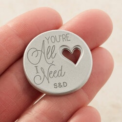 Gifts Under $10:Personalized Romantic Heart Pocket Token -..