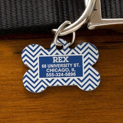 70th Birthday Gifts Under $10:Chevron Personalized Pet ID Tags - Dog Bone