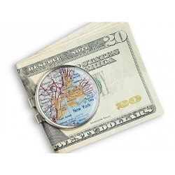 Unique 70th Birthday Gifts:Personal Map Money Clip