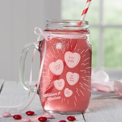 Personalized Mason Jar - Valentines Day..