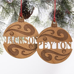 Personalized Christmas Gifts for Family:Personalized Natural Wood Name Ornament