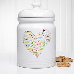 Christmas Gifts for Mom Under $50:Personalized Heart Cookie Jars