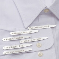 Personalized Christmas Gifts for Husband:Personalized Hidden Message Collar Stays