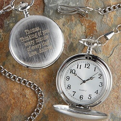 Birthday Gifts for Men:Personalized Silver Pocket Watch