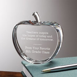 Gifts for Women Under $50:Personalized Crystal Apple Teacher Gift