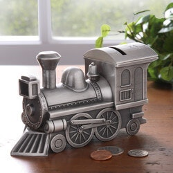 Gifts for Kids:Personalized Pewter Train Bank - Free..