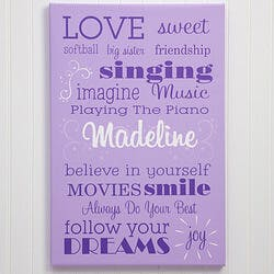 Girls Personalized Canvas