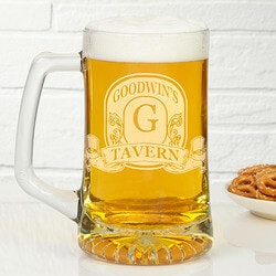 Unusual Gifts for Dad (Under $25):Personalized Beer Mugs - Engraved Bar Sign