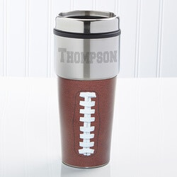 Unusual Birthday Gifts for Brother:Personalized Football Travel Mug