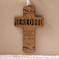 Birthday Gifts for Baby:Personalized Wood Baby Cross - Bless This..