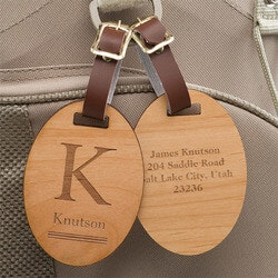 Unusual Gifts for Dad (Under $25):Personalized Wood Luggage Tags