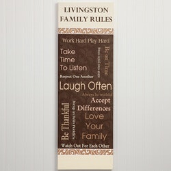 Personalized Family Rules Canvas Print - 12x36