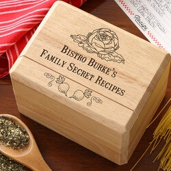 Personalized Recipe Card Box - Bon Appetit