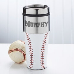 40th Birthday Gifts for Friends:Personalized Baseball Travel Mug