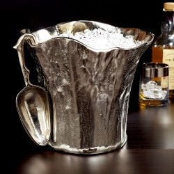 Unique Gifts:Tree Trunk Aluminum Ice Bucket With Scoop