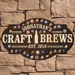Craft Brews Custom Beer Cap Bar Sign..