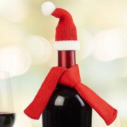 Personalized Gifts (Under $10):Santa Hat & Scarf Wine Bottle Decoration