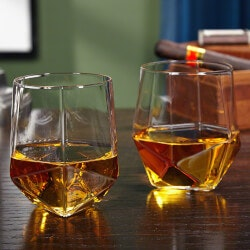 Stocking Stuffers (Under $50):Prism Faceted Whiskey Tumblers, Set Of 2