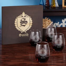Oxford Stemless Wine Glass Gift Box Set
