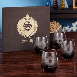 Christmas Gifts for Mom Under $100:Wine Glass Gift Box Set