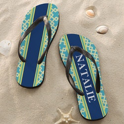 Personalized 70th Birthday Gifts:Personalized Flip Flop Sandals - Nautical Link