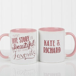 Personalized Gifts (Under $10):Romantic Pink Personalized Coffee Mugs -..