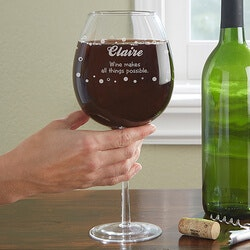 Personalized Wine Gifts for Friends:Personalized Whole Bottle Wine Glass