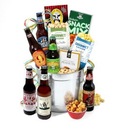 Beer Gifts for Boyfriend (Under $100):Microbrew Beer Bucket Gift Basket