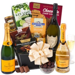 Wine Anniversary Gifts for Women:Champagne & Truffles Gift Basket