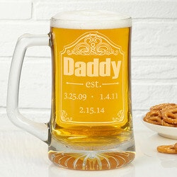 Personalized Gifts for Dad:Personalized Beer Mugs For Dad - Date..