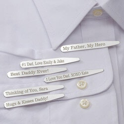 Gifts for Dad:Personalized Silver Collar Stays Set