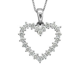 Gifts for Wife Over $200:14k White Gold Heart Diamond Necklace
