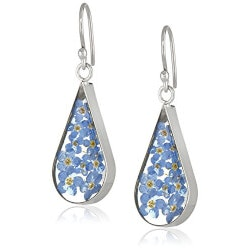 Jewelry Birthday Gifts for Girlfriend (Under $50):Pressed Flower Teardrop Earrings