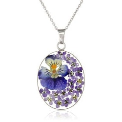 Pressed Flower Oval Necklace