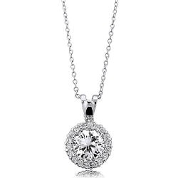 Stocking Stuffers for Wife:Cubic Zirconia Halo Necklace