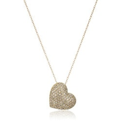 Gifts for Wife Over $200:10k Yellow Gold Heart Diamond Necklace