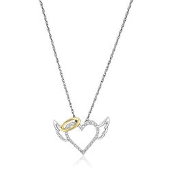 Jewelry Anniversary Gifts:Winged Halo Heart Pendant Necklace