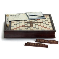 Gifts for Grandfather Under $200:Scrabble Deluxe Wooden Edition
