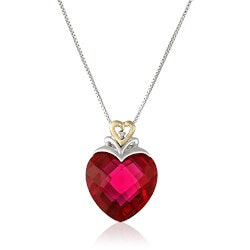 Jewelry Anniversary Gifts:Ruby Heart And Diamond-Accent Necklace