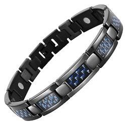 Jewelry Anniversary Gifts:Mens Black Titanium Magnetic Bracelet