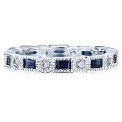 Sapphire Alternate CZ Eternity Ring