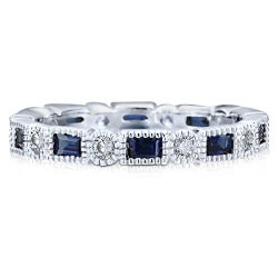 Gifts for Wife:Sapphire Alternate CZ Eternity Ring