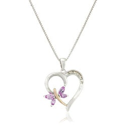 Diamond-Accent Butterfly Heart Necklace
